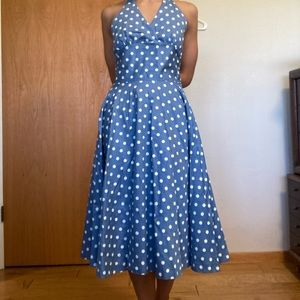 90s does 50s retro swing halter circle dress xs s